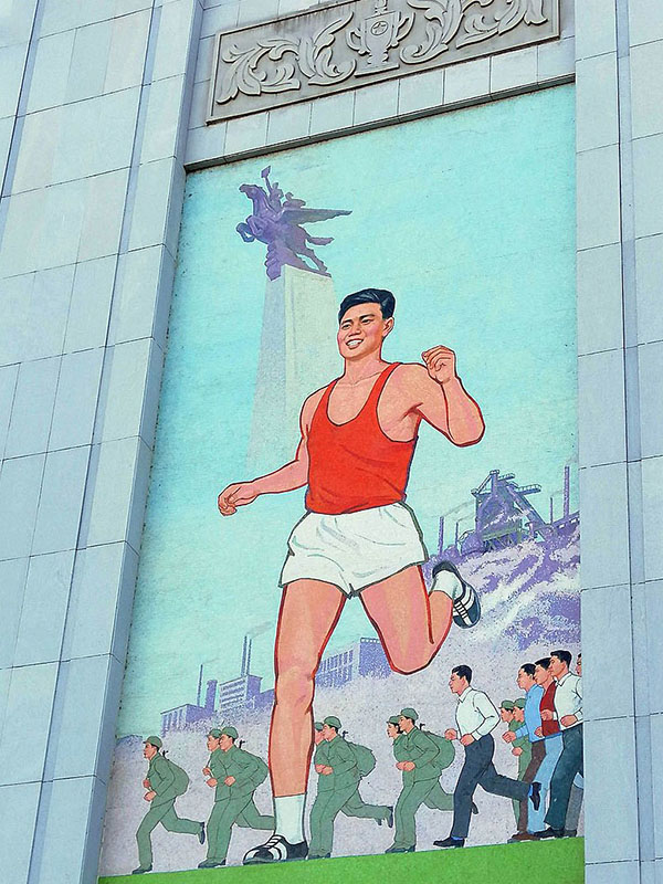 Pjöngjang 2019 Wandbilder im Stadion