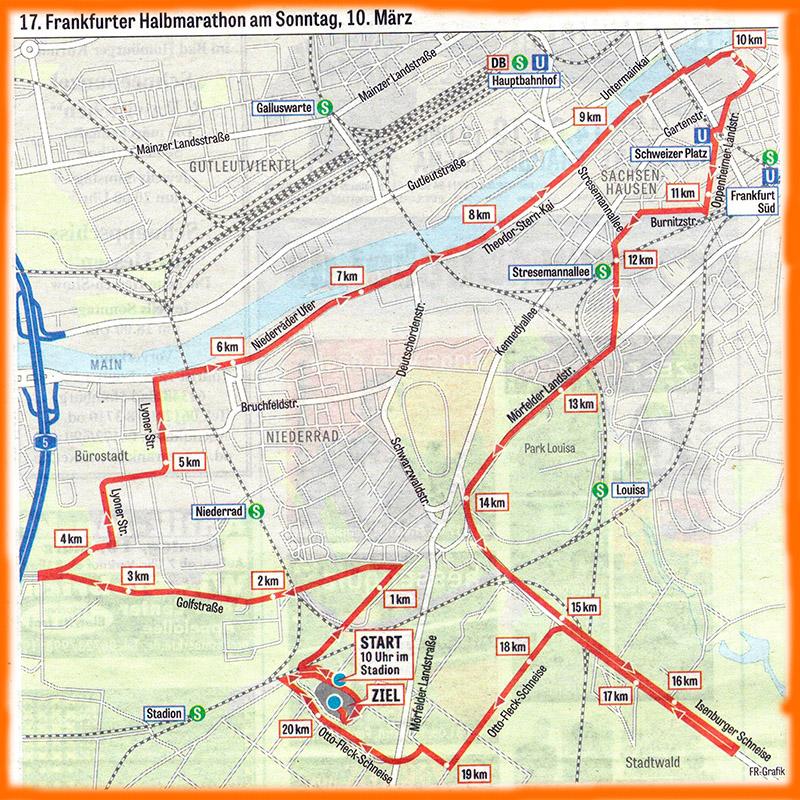 Streckenführung des Frankfurter Halbmarathons 2019